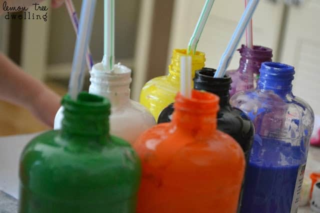Straw Painting is a great kids rainy day activity or just a fun craft for them to do. This simple craft is a little messy and a lot of fun!