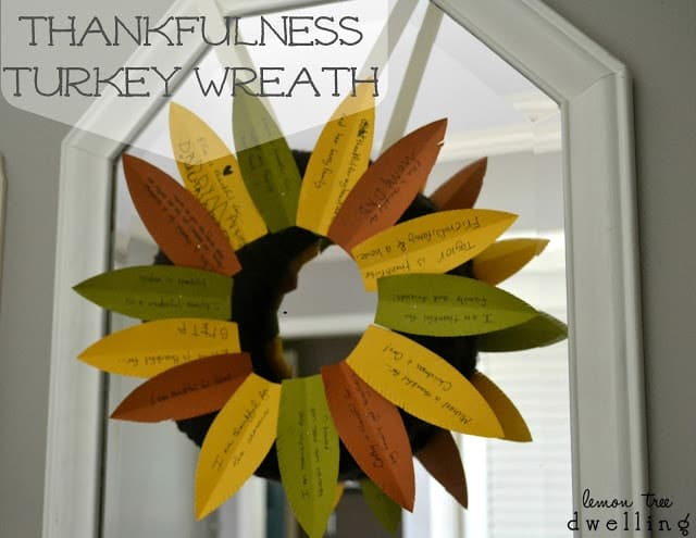Thankfulness Turkey Wreath is a beautiful way to display what you are thankful for.