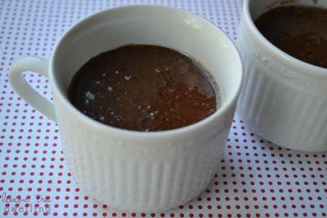 Mug of batter to make a chocolate mocha mug cake