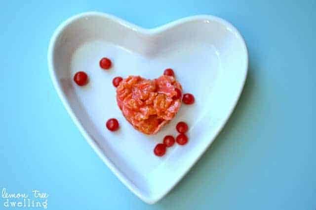 Little Sweethots on a white heart shaped platter