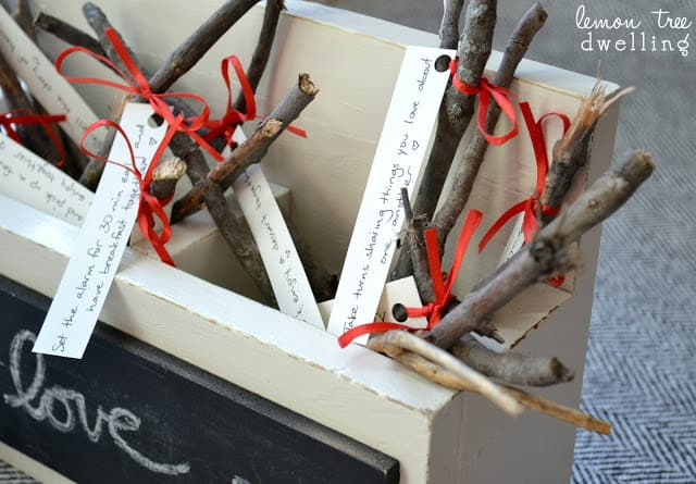 Love Kindling - A romantic Valentine's Day gift idea - write romantic memories on paper and tie them onto pieces of kindling and place it into a kindling box