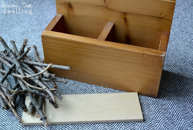 Wooden box, twigs, and twine to make a Love Kindling Valentine's Day gift