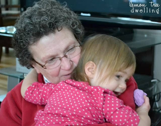 Grand daughter hugging her Grandma