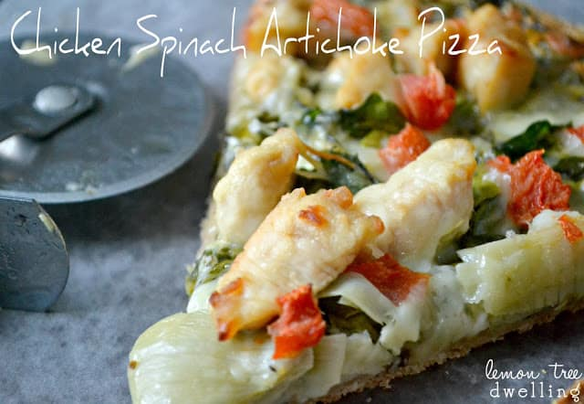 Chicken Spinach Artichoke Pizza is a delicious taste of heaven in a game day dinner option