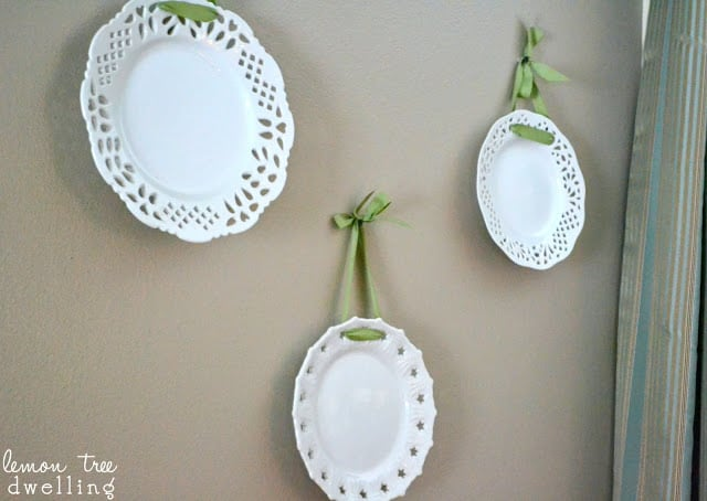 old plates turned into DIY wall art