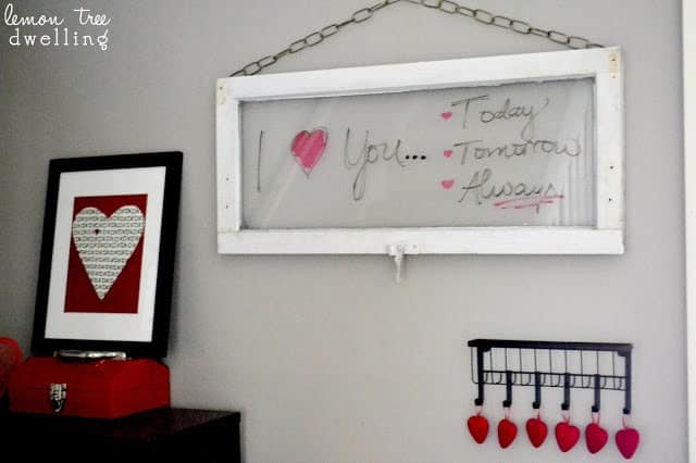 DIY wall art - an old window becomes a message board that says I love you today, tomorrow, and always