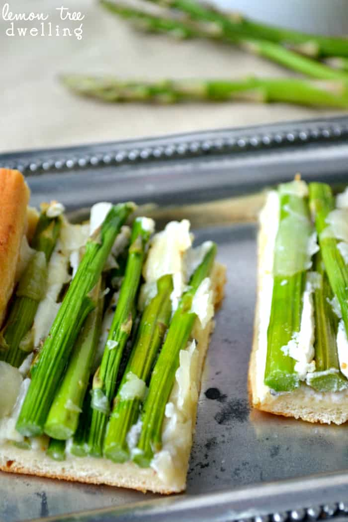 Asparagus Crescent Squares with 2 types of cheese and a soft, flaky crust