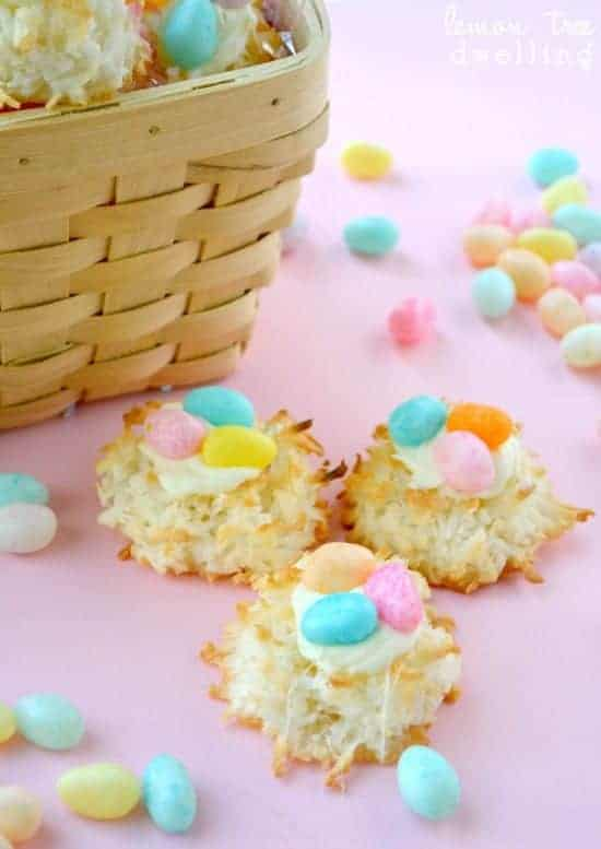 Macaroon Nests are a quick and easy treat for all your Easter guests. These quick and easy coconut cookies are adorable and simple, perfect for your Easter baskets!