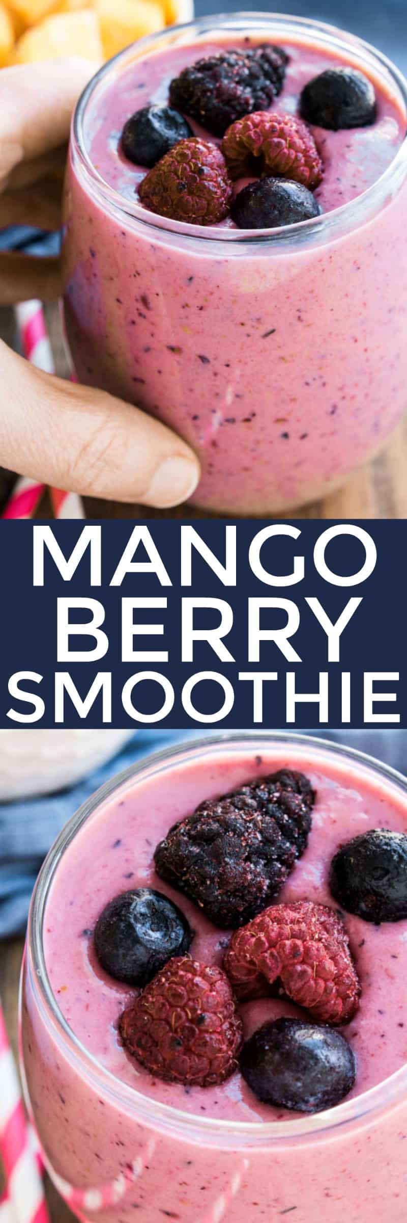 titled photo collage - Mango-Berry Smoothie