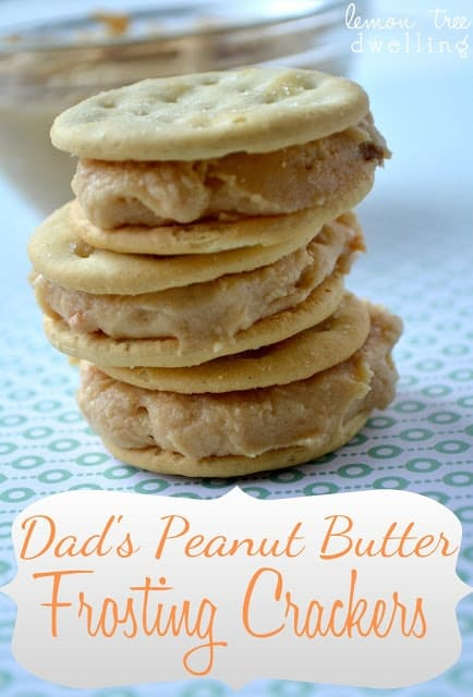 These Dad's Peanut Butter Frosting Crackers will be your new favorite treat! A delicious peanut butter frosting sandwiched between two buttery crackers.