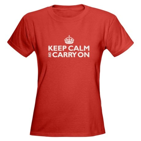 Keep Calm and Carry On: Ladies Bright/Blk T-Shirt