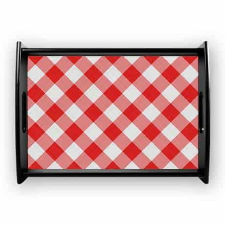 red checkered pattern Large Serving Tray