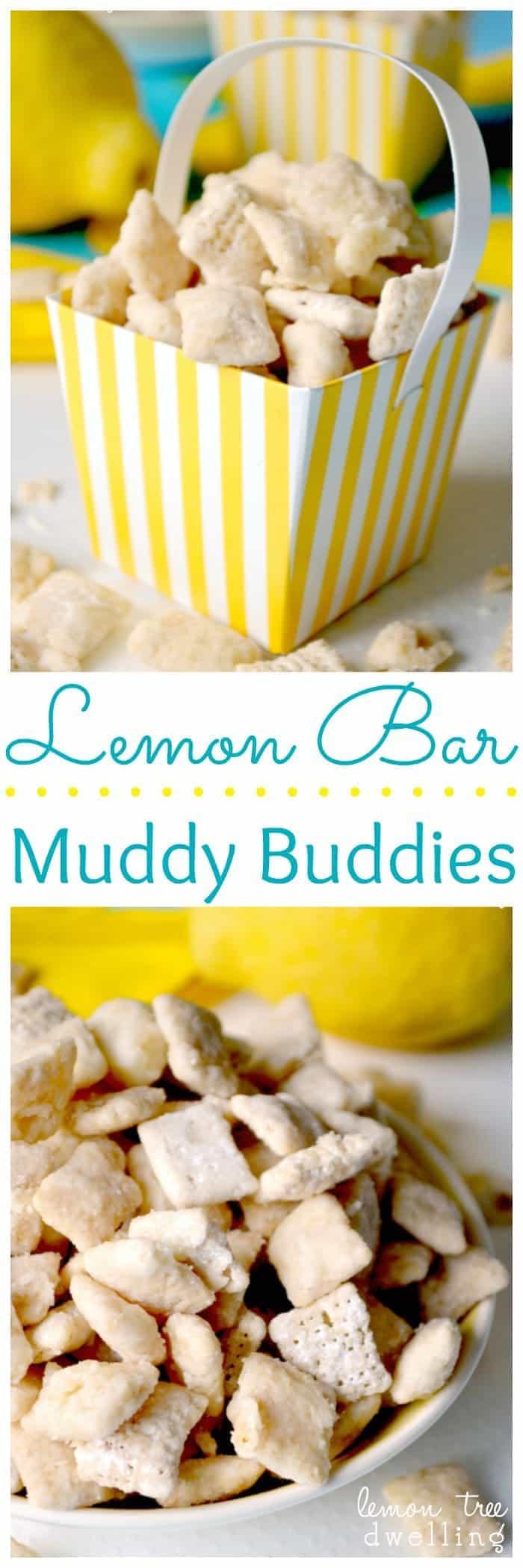 White Chocolate & Lemon Curd Muddy Buddies are the perfect summer treat...and taste just like real Lemon Bars!