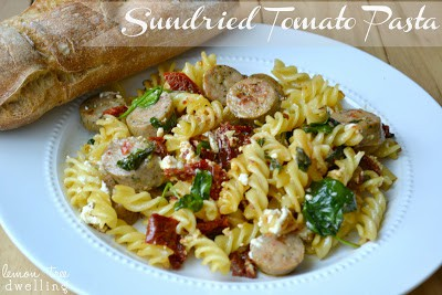plate of sundried tomato pasta