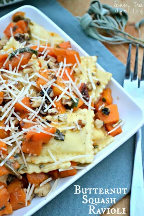 Butternut Squash Ravioli is simply delectable as a main dish or side dish. Cheese ravioli is topped with delicious butternut squash, fresh sage and walnuts. This is perfect for those cold winter nights!