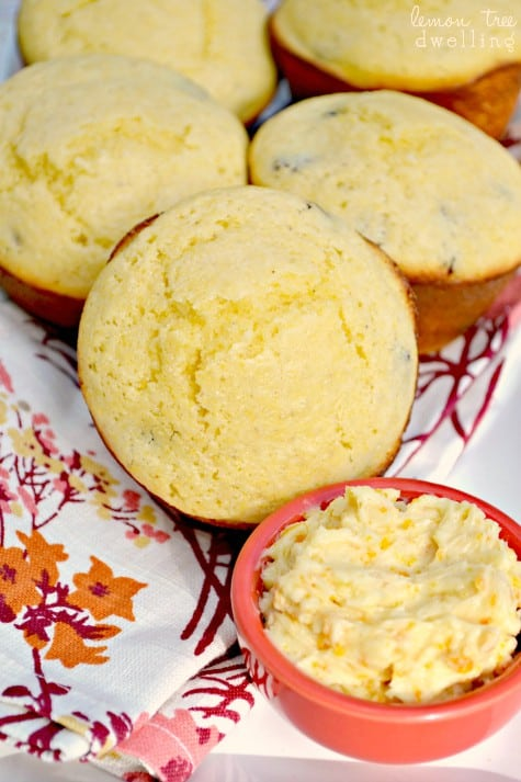 Cranberry Corn Muffins with Sweet Orange Honey Butter blend a classic corn muffin with cranberries and top it with sweet orange honey butter