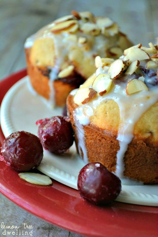 Cherry Almond Muffins make for a quick snack or a portable breakfast choice.