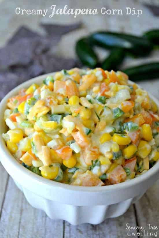 Jalapeno Corn Dip is loaded with fresh peppers, onions, cilantro, and cheese for a spicy Mexican dip