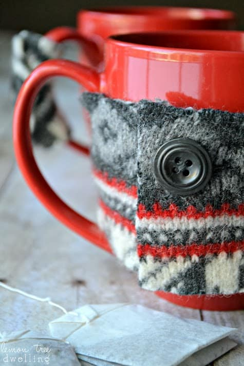These Easy Mug Cozies are made from an old sweater!