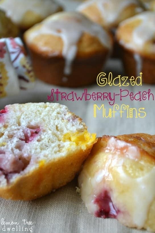 Glazed Strawberry-Peach Muffins