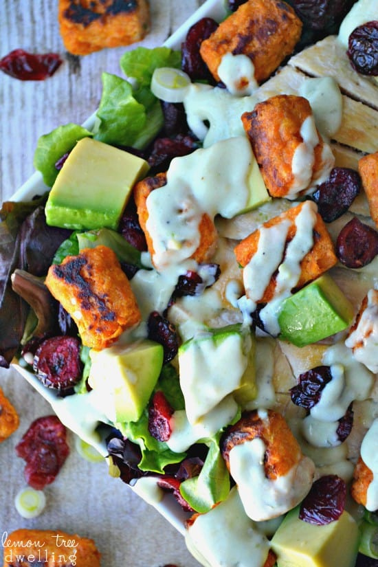 Loaded Sweet Potato Tot Salad is chock full of deliciousness and drizzled with creamy avocado ranch dressing.