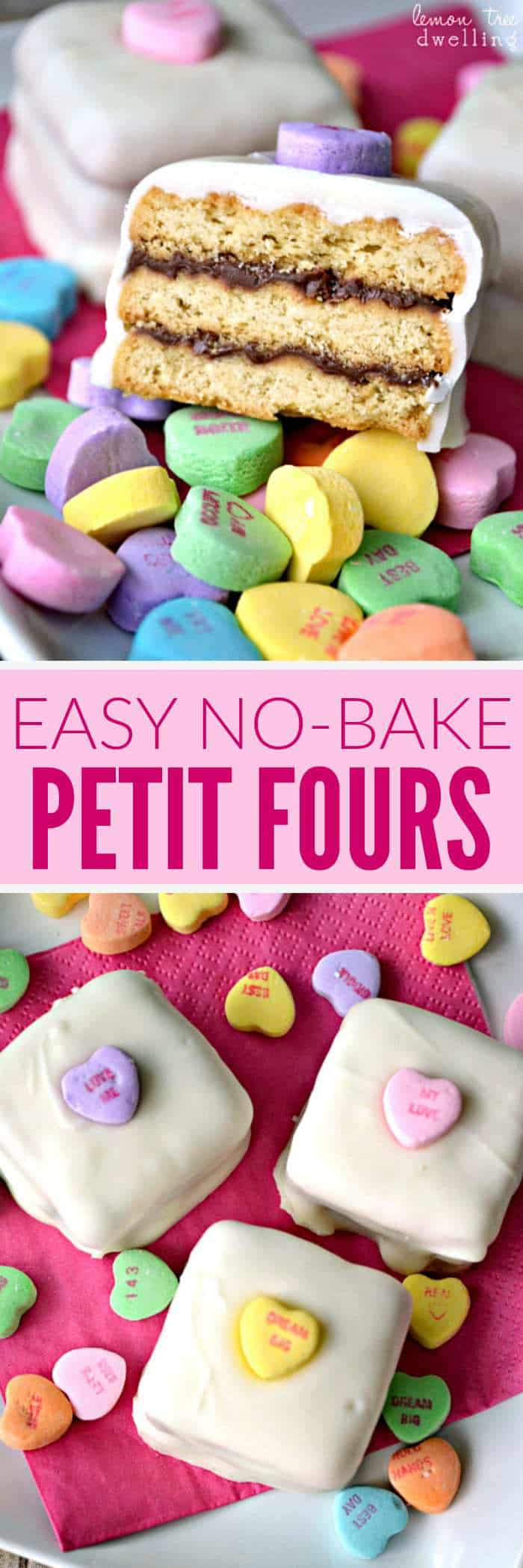 Easy No-Bake Petit Fours made with shortbread cookies, Nutella, and Vanilla Candiquik. An adorably delicious Valentine's Day treat!