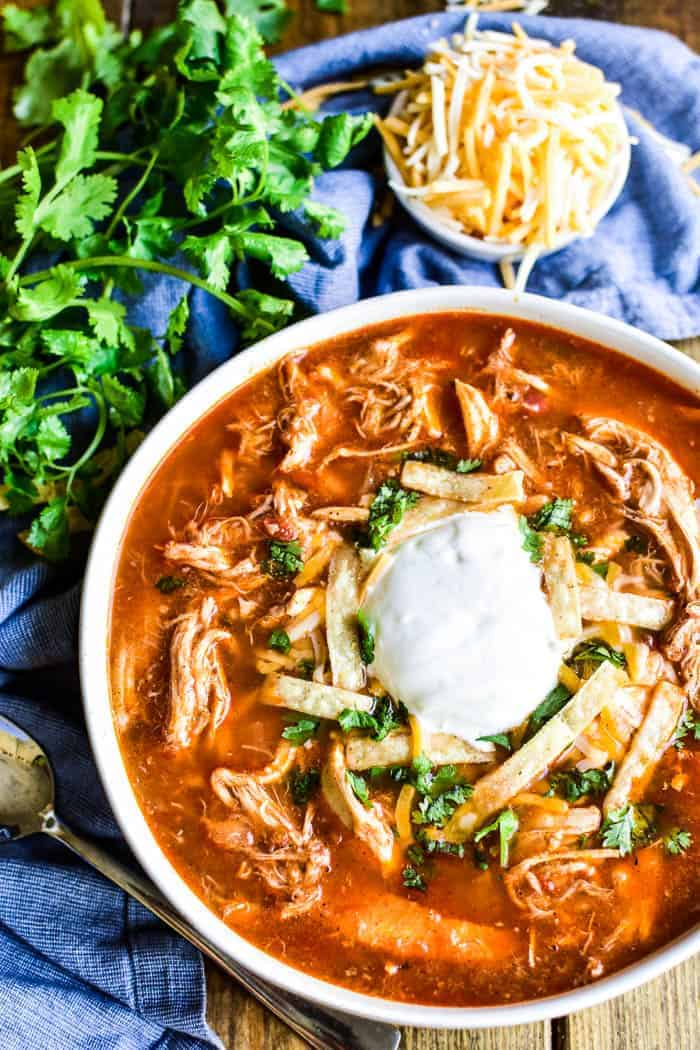 Chicken Tortilla Soup with toppings