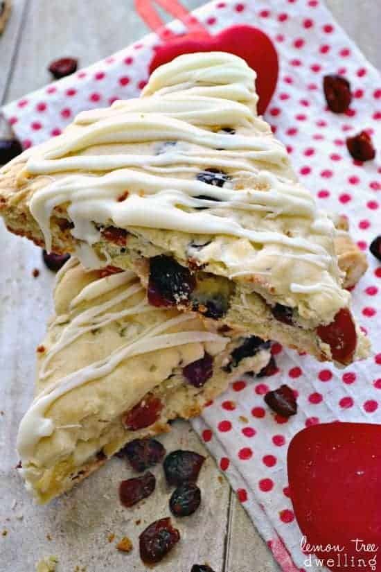 White Chocolate Cherry Scones are perfect with Bigelow Tea!