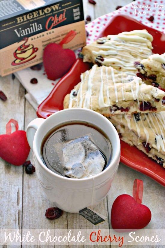White Chocolate Cherry Scones are perfect with Bigelow Tea!  #AmericasTea, #shop, #cbias