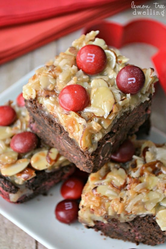 German Chocolate Cherry Bars - a delicious mix between a brownie and German Chocolate Cake!