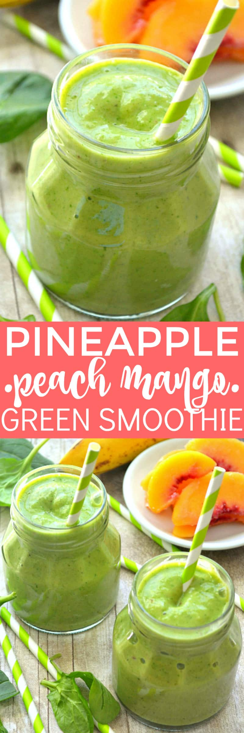 This Pineapple Peach Mango Green Smoothie is a delicious taste of the tropics! Loaded with peaches, mango, pineapple juice, bananas, and spinach....this smoothie is flavor-packed and perfect for any time of day!