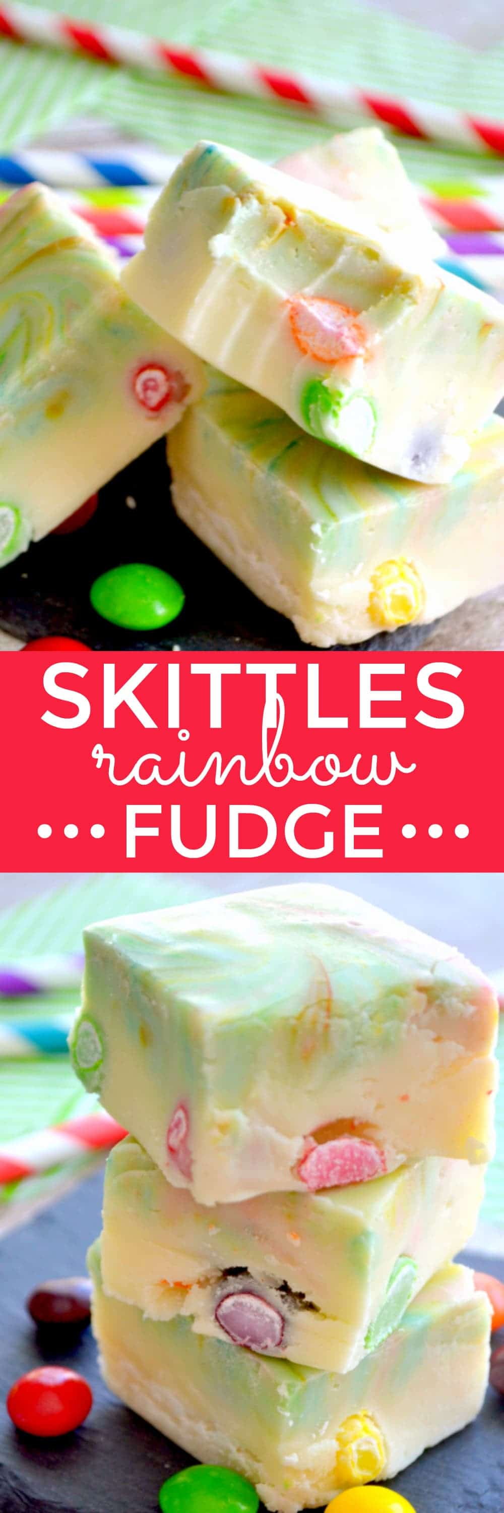 Creamy white chocolate fudge swirled with rainbow colors and stuffed with Skittles. Because St. Patrick's Day is all about FUN!!