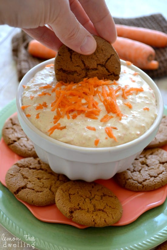 Creamy Carrot Cake Dip - like carrot cake + cream cheese frosting in a dip!
