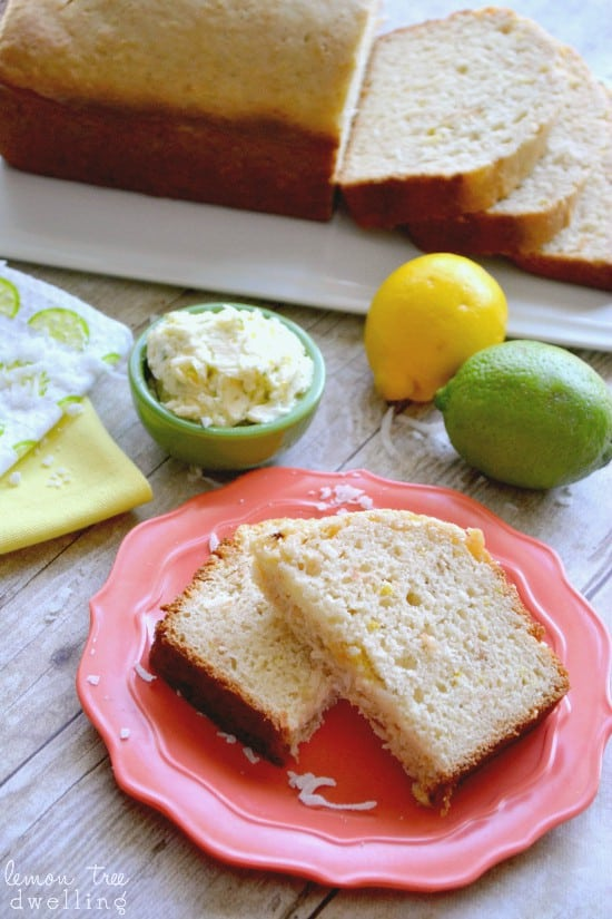Lemon Coconut Quick Bread w/Citrus Honey Butter. PERFECT for spring & summer!!