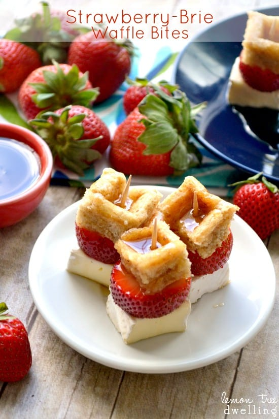 Strawberry Brie Waffle Bites - a simple, delicious Mother's Day brunch appetizer!