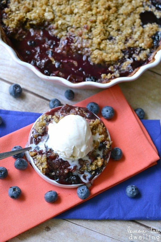 Blueberry Rhubarb Crisp - delicious served warm with vanilla ice cream!