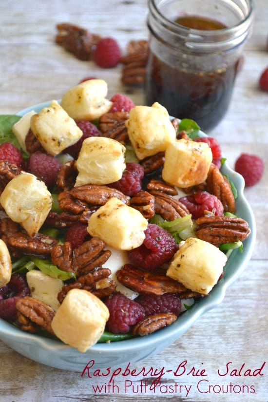 Raspberry Brie Salad with Puff Pastry Croutons 7