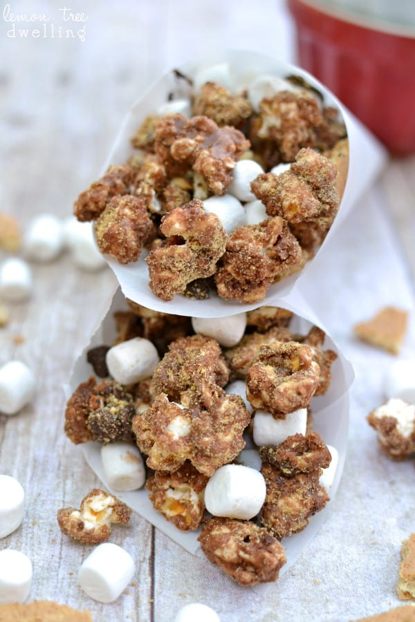 Chocolate popcorn loaded with chocolate chips, mini marshmallows, graham cracker pieces, and graham cracker crumbs. A s'mores treat you can eat by the handful!