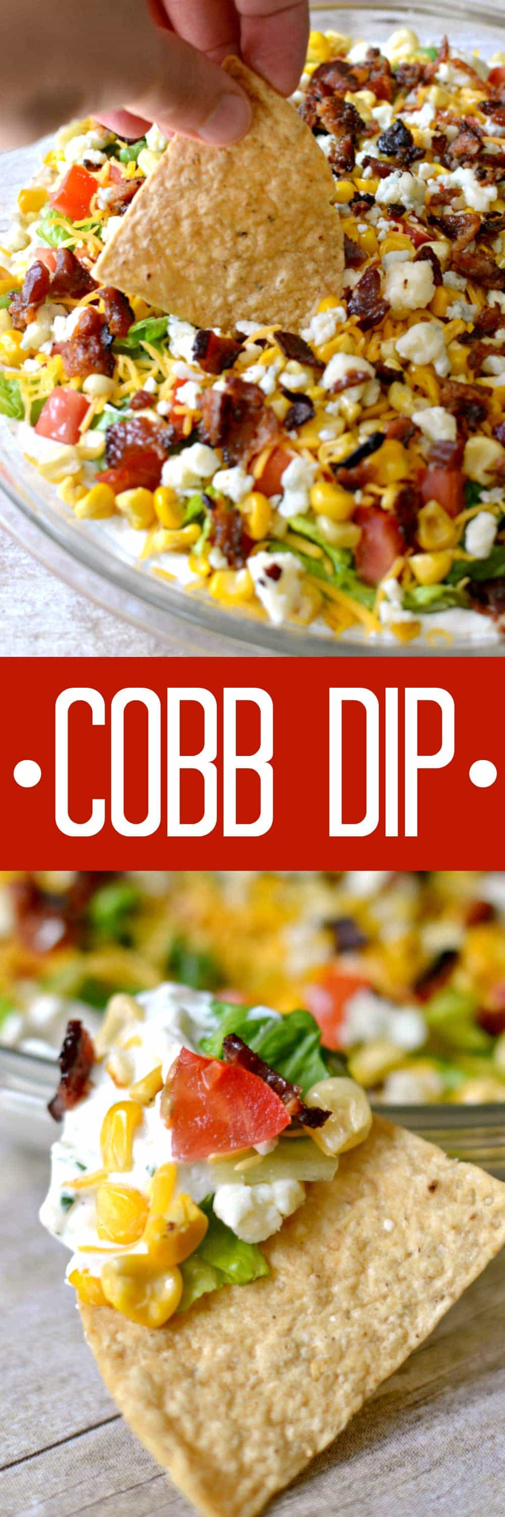Cobb Dip is a delicious light dip made with creamy ranch, lettuce, tomatoes, grilled corn, shredded cheese, bacon, and blue cheese crumbles. The perfect party dip recipe!