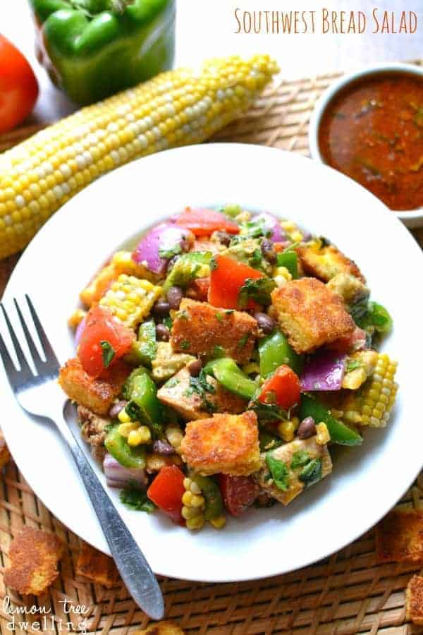 Southwest Bread Salad - loaded with fresh summer produce, grilled chicken, cornbread croutons, and a homemade southwest vinaigrette. #mypicknsave #shop #cbias