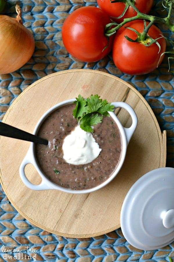 Blender Black Bean Soup with Hot Sauce - start to finish in just 15 minutes! #sauceon #shop #cbias