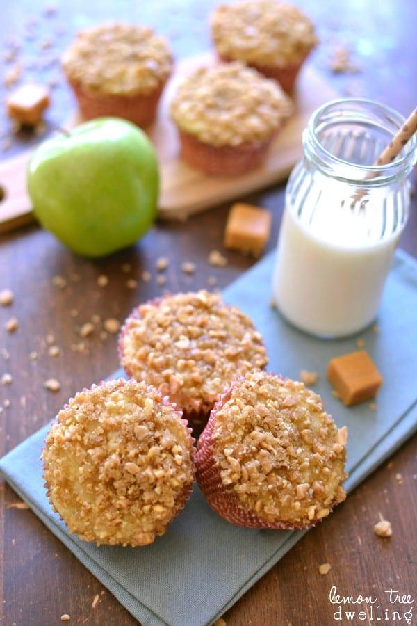 3 Caramel Apple Muffins on napkin