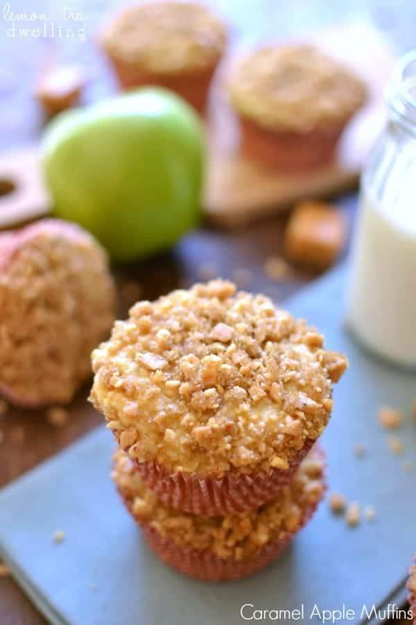 Caramel Apple Muffins on blue napkin