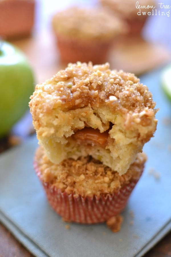 Close up of Caramel Apple Muffins with gooey caramel center
