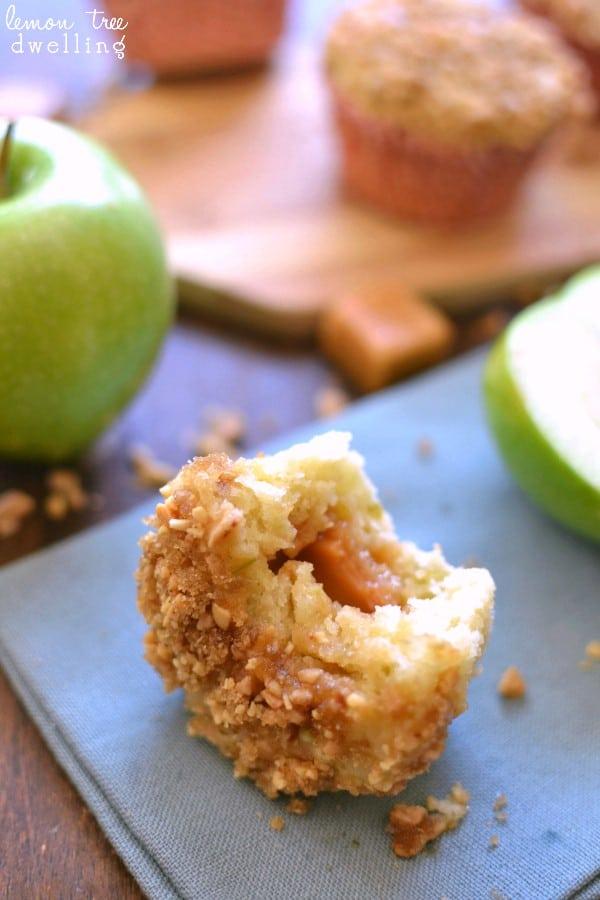Caramel Apple Muffins showing caramel center