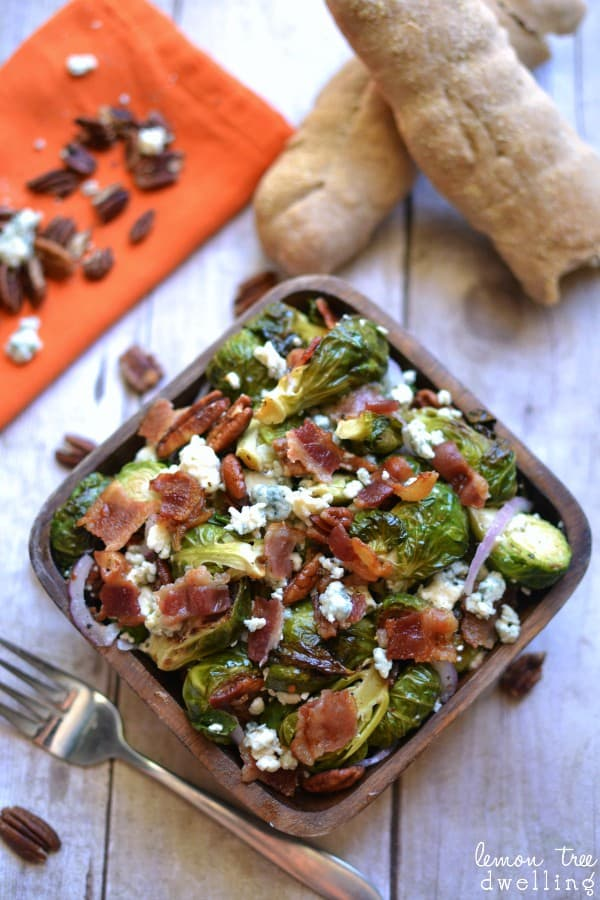 Harvest Brussel Sprout Salad with bacon, blue cheese, red onions & pecans