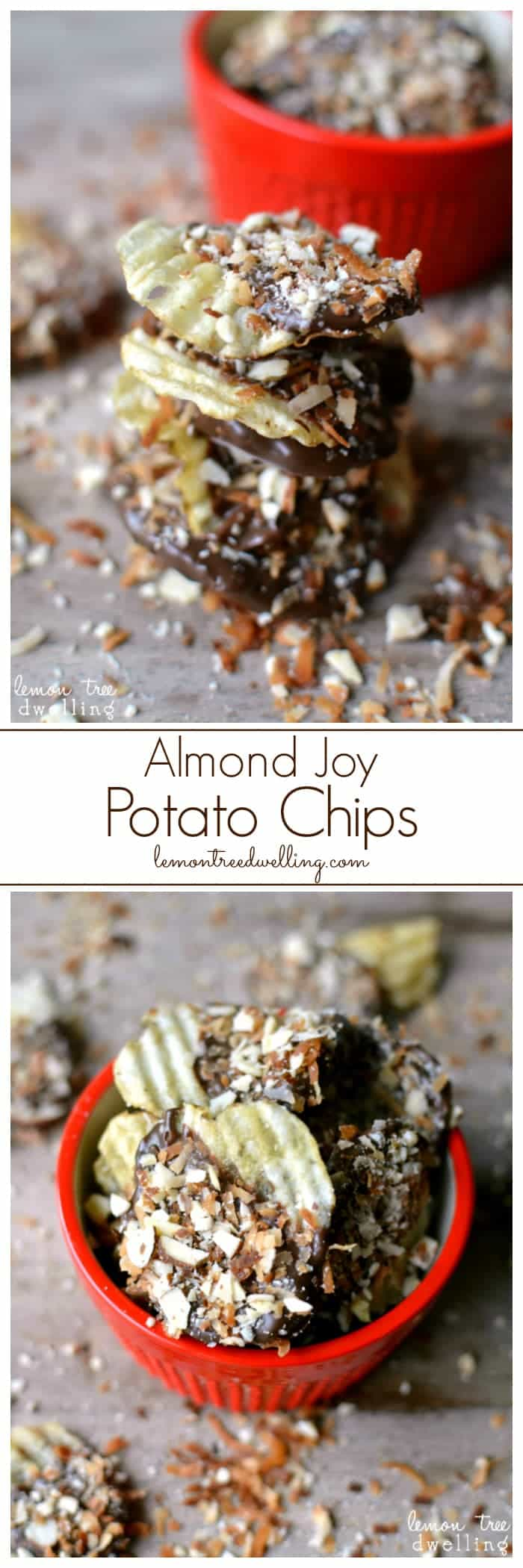 Almond Joy Potato Chips are a quick and tasty treat for any occasion! These are highly addictive! A crunchy, salty, sweet, and delicious treat! Have a handful!