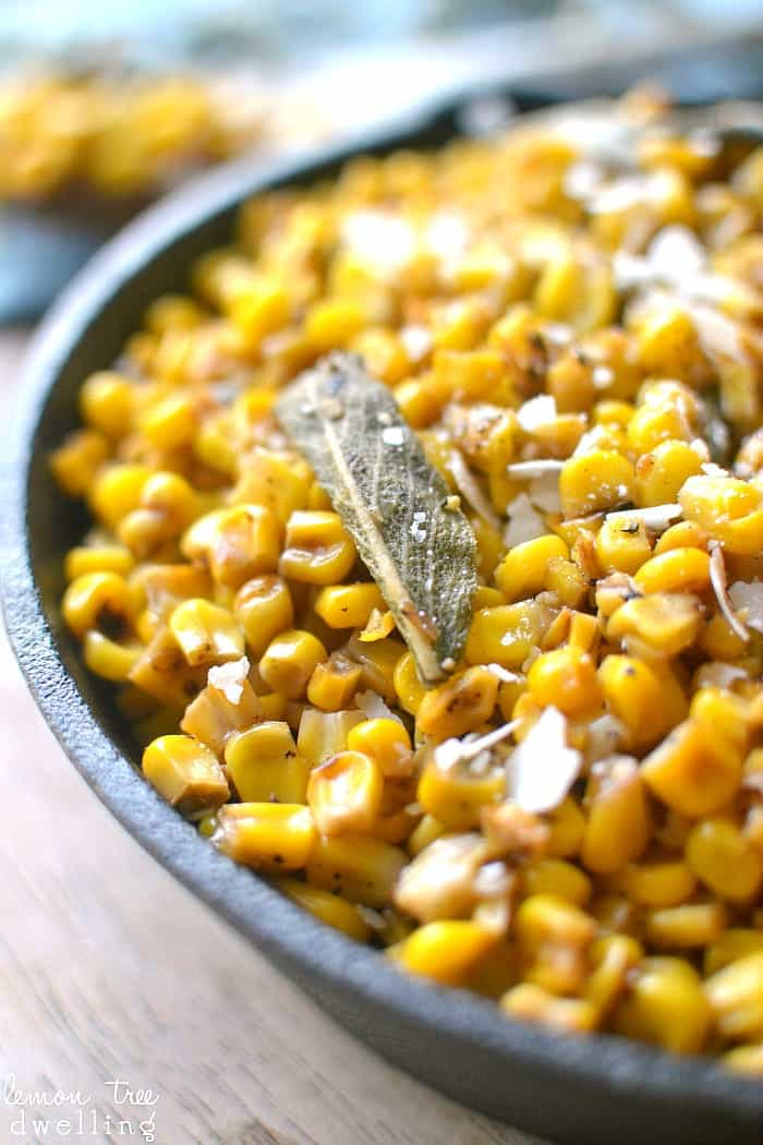 Skillet Corn with Brown Butter and Sage will be a perfect compliment to your table. This flavorful side dish is so quick and easy, it's a must-have on your holiday menu!