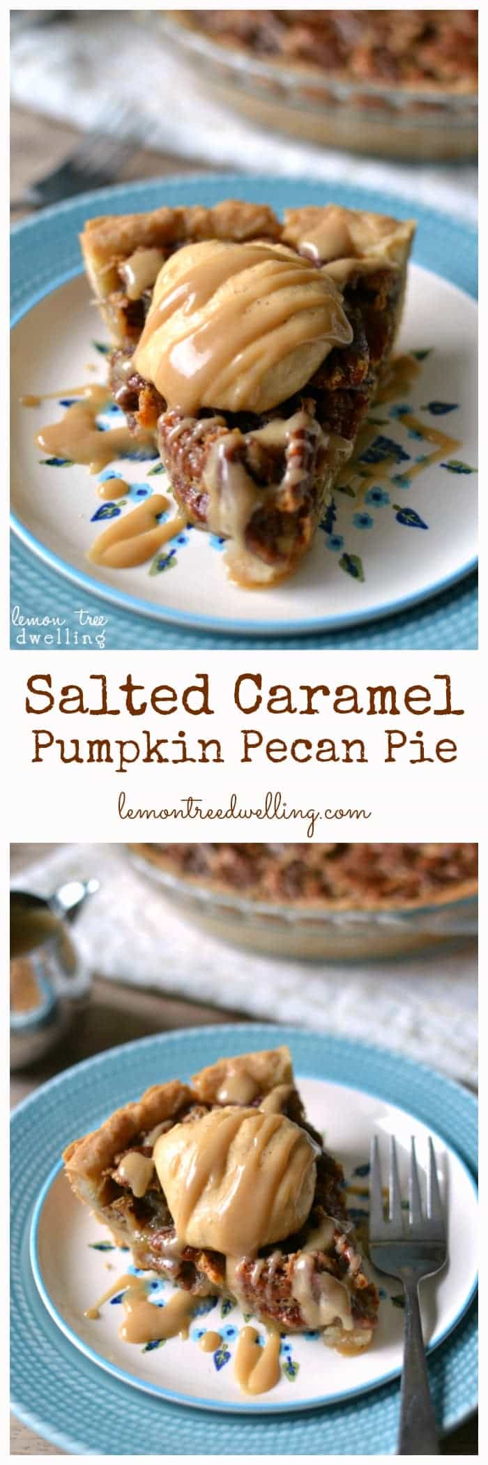 Salted Caramel Pumpkin Pecan Pie. All the best flavors of Thanksgiving, in one delicious pie!