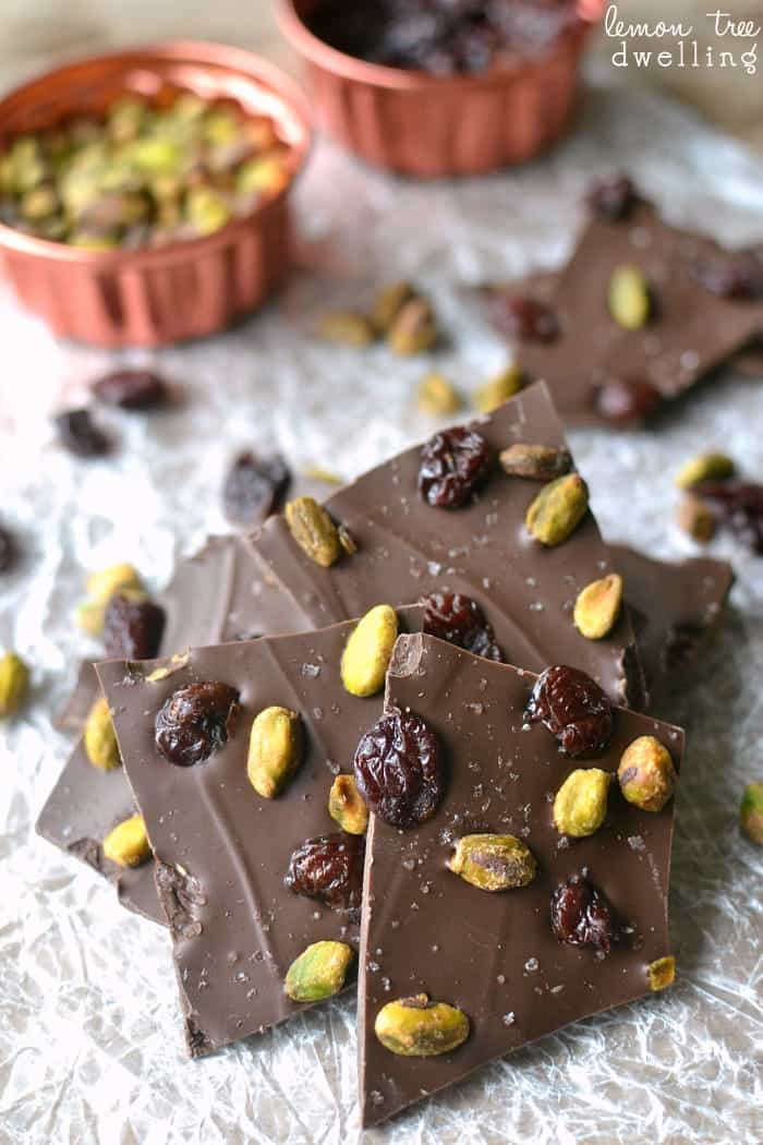 Salted Chocolate Cherry Pistachio Bark is a super easy chocolate bark that's topped with dried cherries, roasted pistachios, and a touch of sea salt. This 5-minute dessert is perfect for holiday gifting!
